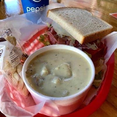 Baked Potato Soup with a Sandwich | Village Corner Deli